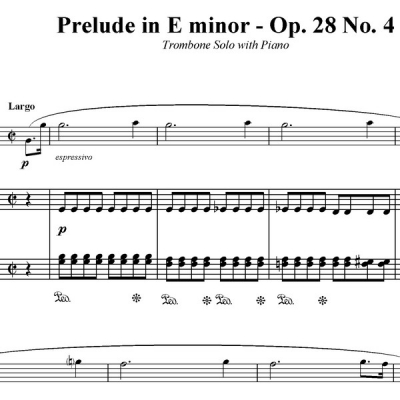 Prelude in E minor (Op.28 No.4) - Trombone Solo with Piano Acc.