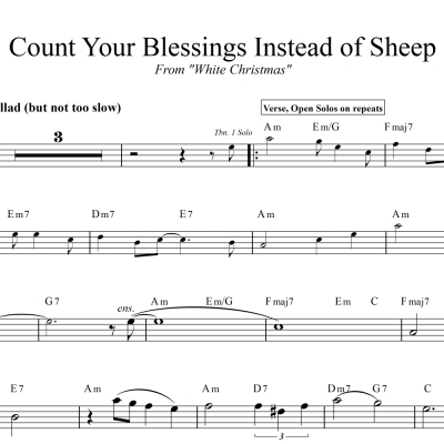 Count Your Blessings Instead Of Sheep - Head Chart for Trombone Quartet and Rhythm Section