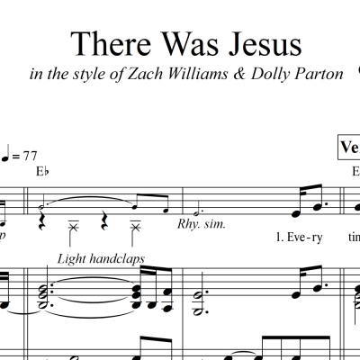 There Was Jesus - LOWERED KEY - Piano/Vocal