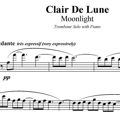 Clair De Lune - Trombone Solo with Piano Acc.